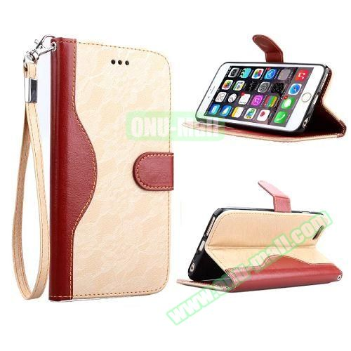 Lace Texture Flip Leather Case for iPhone 6 4.7 inch with Card Slots and Hand Strap (Beige)