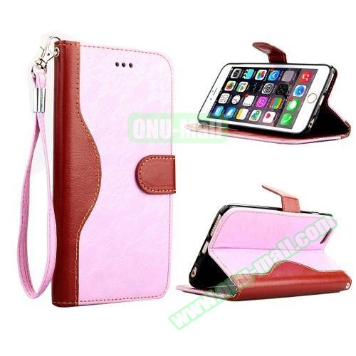 Lace Texture Flip Leather Case for iPhone 6 4.7 inch with Card Slots and Hand Strap (Pink)