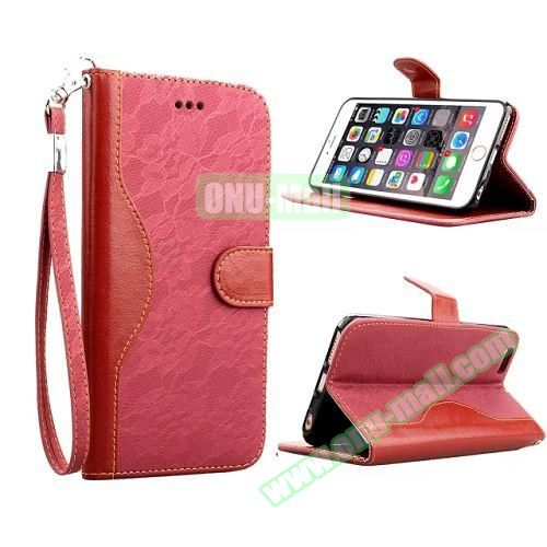 Lace Texture Flip Leather Case for iPhone 6 4.7 inch with Card Slots and Hand Strap (Red)