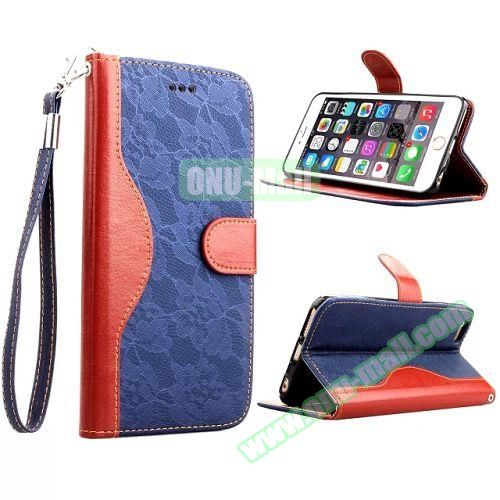 Lace Texture Flip Leather Case for iPhone 6 4.7 inch with Card Slots and Hand Strap (Blue)