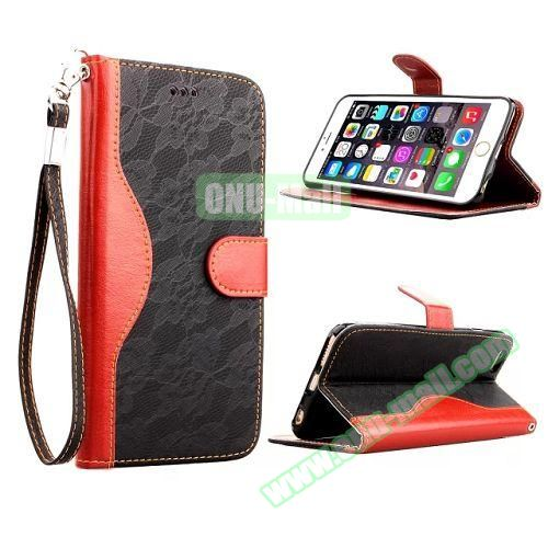 Lace Texture Flip Leather Case for iPhone 6 4.7 inch with Card Slots and Hand Strap (Black)