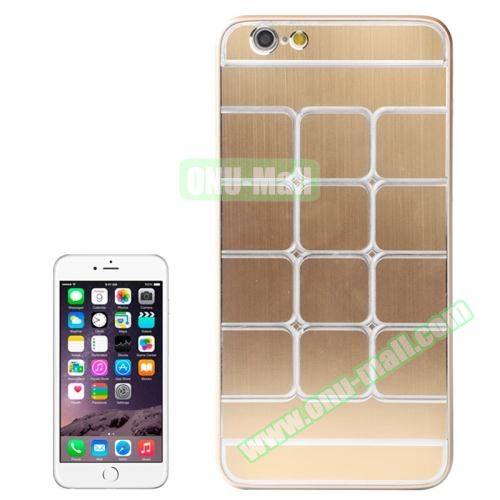 Brushed Texture Grid Dents Pattern Plastic Hard Case for iPhone 6 Plus (Gold)