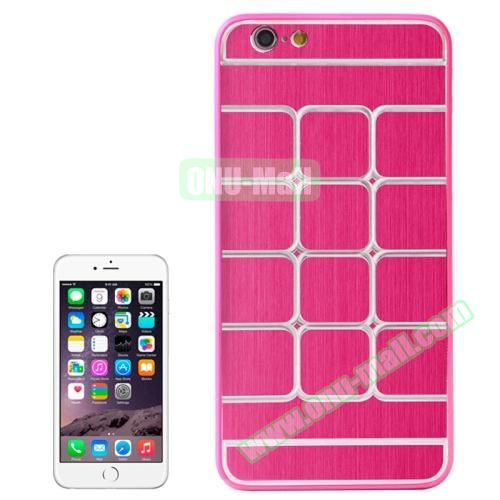 Brushed Texture Grid Dents Pattern Plastic Hard Case for iPhone 6 4.7 inch (Red)