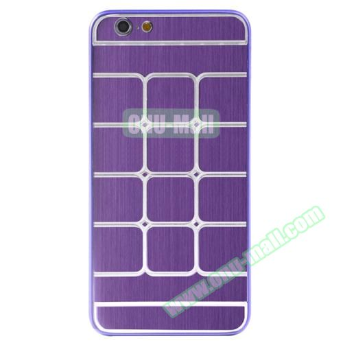 Brushed Texture Grid Dents Pattern Plastic Hard Case for iPhone 6 Plus (Purple)