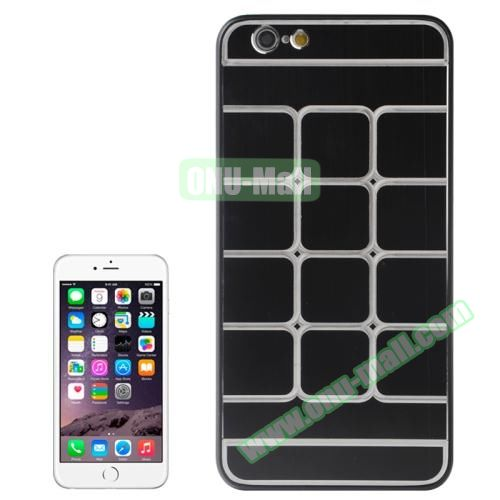 Brushed Texture Grid Dents Pattern Plastic Hard Case for iPhone 6 Plus (Black)