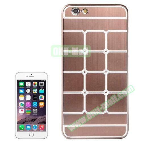 Brushed Texture Grid Dents Pattern Plastic Hard Case for iPhone 6 Plus (Brown)