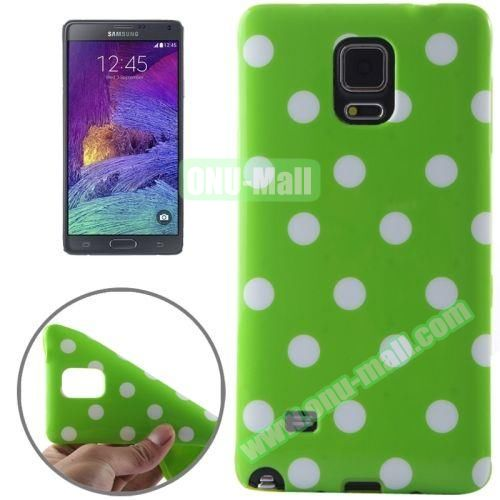 Colorful Dot Pattern TPU Case for Samsung Galaxy Note 4 (Green Grounding)