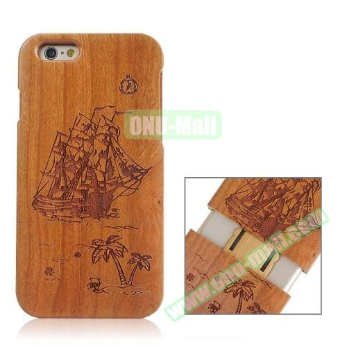 Separable Bamboo Case For iPhone 6 Plus (Boat Pattern)