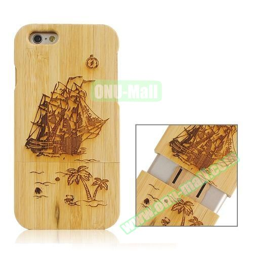 Separable Bamboo Case For iPhone 6 Plus (Light Boat Pattern)