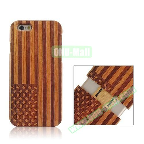 Separable Bamboo Case For iPhone 6 (USA Flag Pattern)