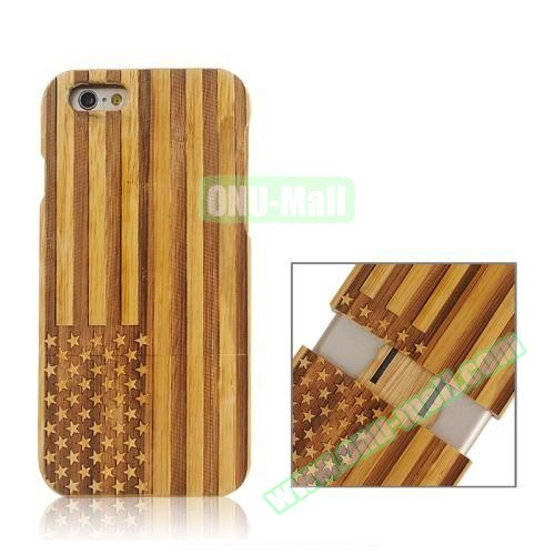 Separable Bamboo Case For iPhone 6 Plus (Light USA Flag Pattern)