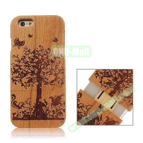 Separable Bamboo Case For iPhone 6 Plus (Big Tree Pattern)