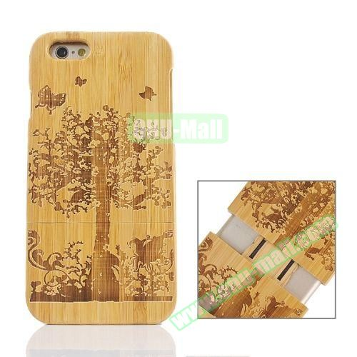 Separable Bamboo Case For iPhone 6 Plus (Light Big Tree Pattern)