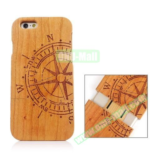 Separable Bamboo Case For iPhone 6 Plus (Rudder Pattern)