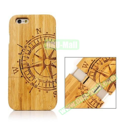 Separable Bamboo Case For iPhone 6 Plus (Light Rudder Pattern)