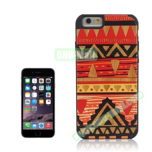 Tribal Style Ethnic Design Wood Paste Plastic Case for iPhone 6 Plus (Design 6)