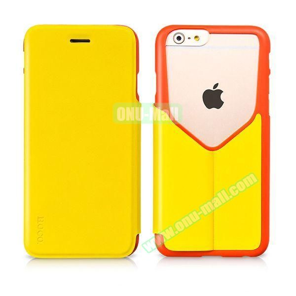 HOCO Mainstream Series Dual Color Low-cut Design Flip Leather Case for iPhone 6 (Red and Yellow)
