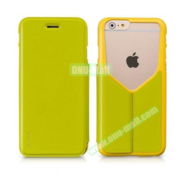 HOCO Mainstream Series Dual Color Low-cut Design Flip Leather Case for iPhone 6 (Green and Yellow)