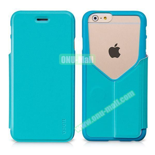 HOCO Mainstream Series Dual Color Low-cut Design Flip Leather Case for iPhone 6 (Blue)