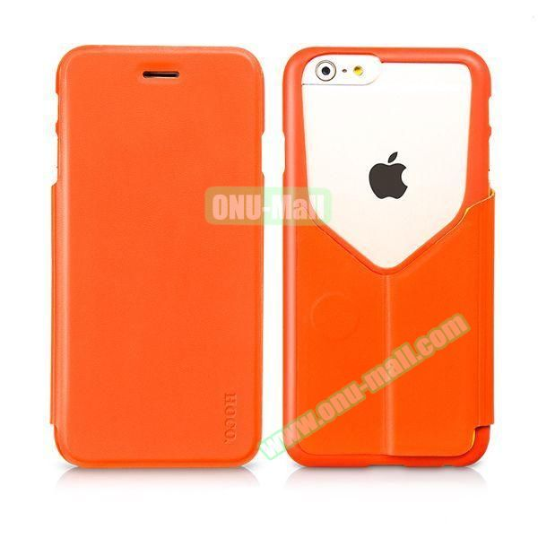 HOCO Mainstream Series Dual Color Low-cut Design Flip Leather Case for iPhone 6 (Orange)