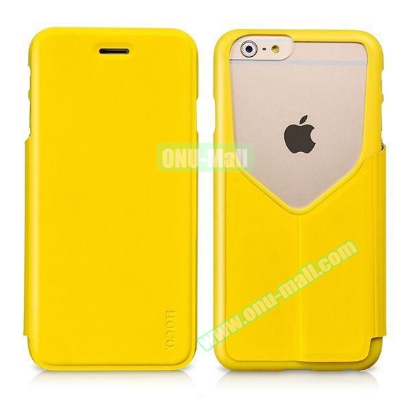 HOCO Mainstream Series Dual Color Low-cut Design Flip Leather Case for iPhone 6 (Yellow)
