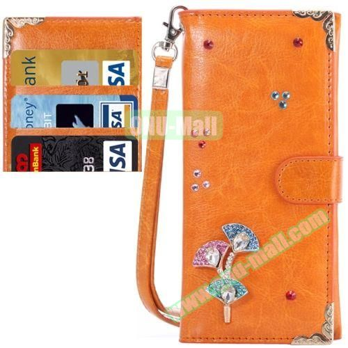 3D Diamond Embedded Pattern Crazy Horse Texture Universal Leather Case for iPhone, Samsung, HTC, Etc. (Orange)
