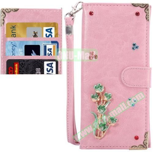 3D Diamond Embedded Pattern Crazy Horse Texture Universal Leather Case for iPhone, Samsung, HTC, Etc. (Green Flower in Pink)
