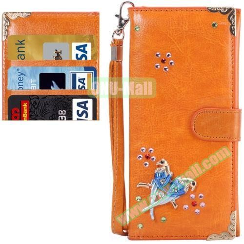 3D Diamond Embedded Pattern Crazy Horse Texture Universal Leather Case for iPhone, Samsung, HTC, Etc. (Two Birds)