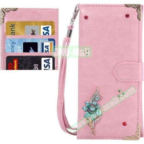 3D Diamond Embedded Pattern Crazy Horse Texture Universal Leather Case for iPhone, Samsung, HTC, Etc. (Flower)