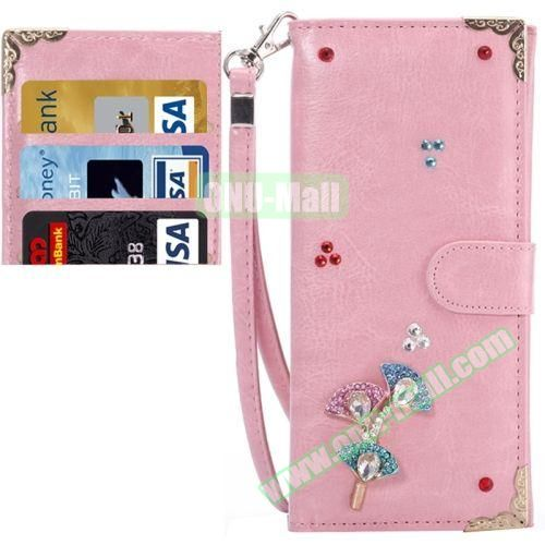 3D Diamond Embedded Pattern Crazy Horse Texture Universal Leather Case for iPhone, Samsung, HTC, Etc. (Little Flower)