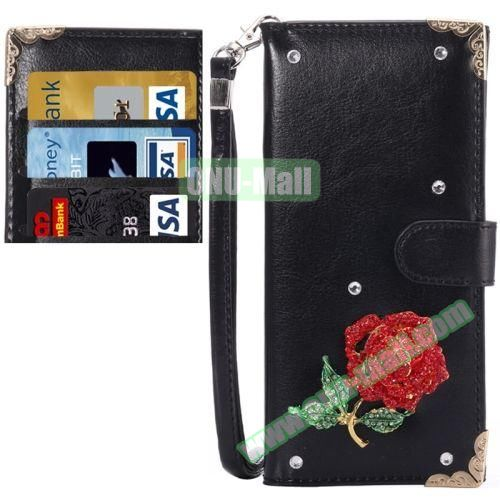 3D Diamond Embedded Pattern Crazy Horse Texture Universal Leather Case for iPhone, Samsung, HTC, Etc. (Rose in Black)