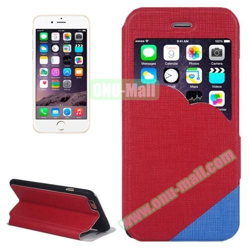 Cross Texture Clouds Form Window Leather Case with Holder for iPhone 6 Plus (Red)