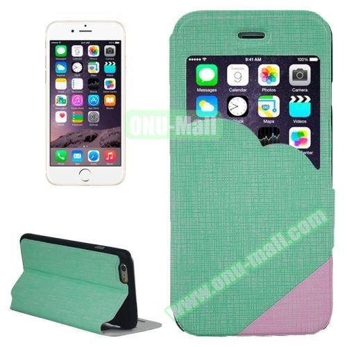 Cross Texture Clouds Form Window Leather Case with Holder for iPhone 6 Plus (Green)