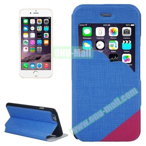 Cross Texture Clouds Form Window Leather Case with Holder for iPhone 6 Plus (Blue)