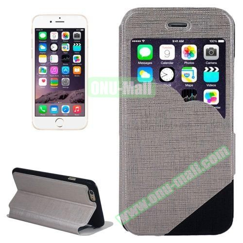 Cross Texture Clouds Form Window Leather Case with Holder for iPhone 6 Plus (Grey)