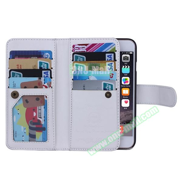 Crazy Horse Texture Detachable Leather Case for iPhone 6 Plus with 9 Credit Card Slots and Lanyard (White)