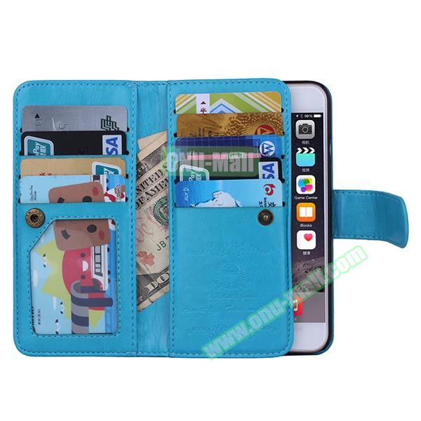 Crazy Horse Texture Detachable Leather Case for iPhone 6 Plus with 9 Credit Card Slots and Lanyard (Blue)