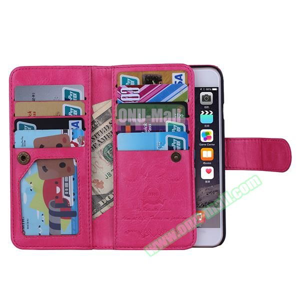 Crazy Horse Texture Detachable Leather Case for iPhone 6 with 9 Credit Card Slots and Lanyard (Rose)