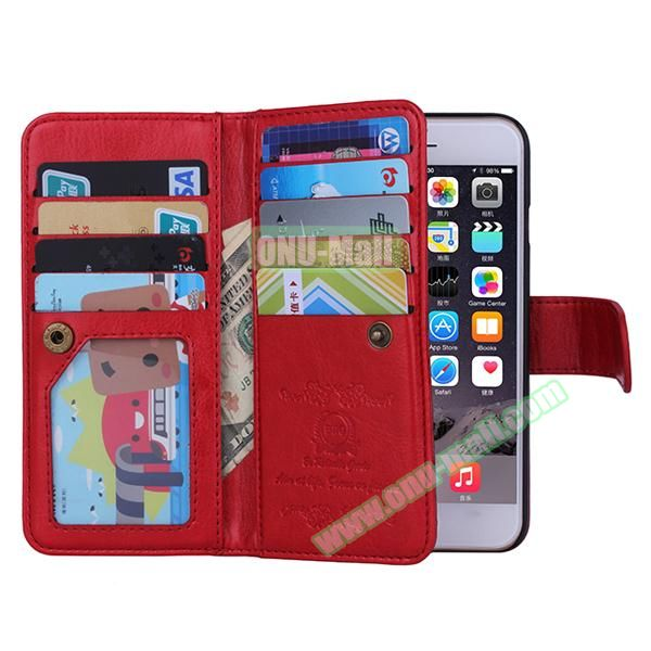 Crazy Horse Texture Detachable Leather Case for iPhone 6 with 9 Credit Card Slots and Lanyard (Red)