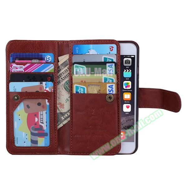 Crazy Horse Texture Detachable Leather Case for iPhone 6 with 9 Credit Card Slots and Lanyard (Brown)