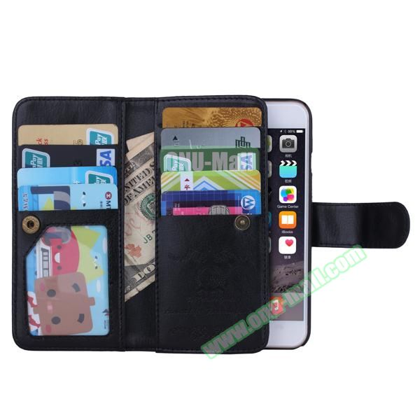 Crazy Horse Texture Detachable Leather Case for iPhone 6 with 9 Credit Card Slots and Lanyard (Black)