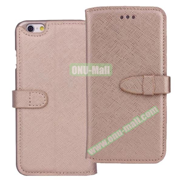 Shinning Cross Texture Flip Genuine Leather Case for iPhone 6 with Closure (Gold)