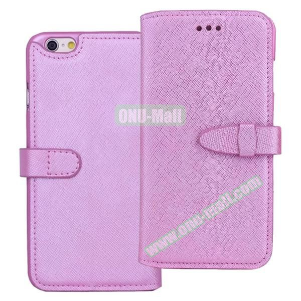 Shinning Cross Texture Flip Genuine Leather Case for iPhone 6 with Closure (Purple)