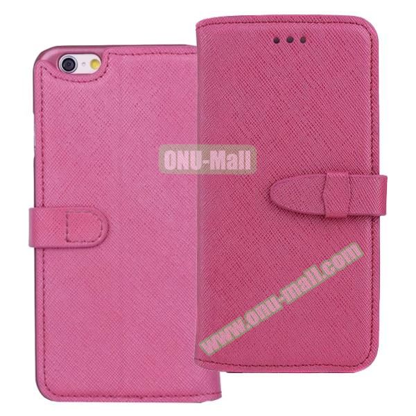 Shinning Cross Texture Flip Genuine Leather Case for iPhone 6 Plus with Closure (Rose)