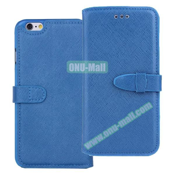 Shinning Cross Texture Flip Genuine Leather Case for iPhone 6 with Closure (Blue)