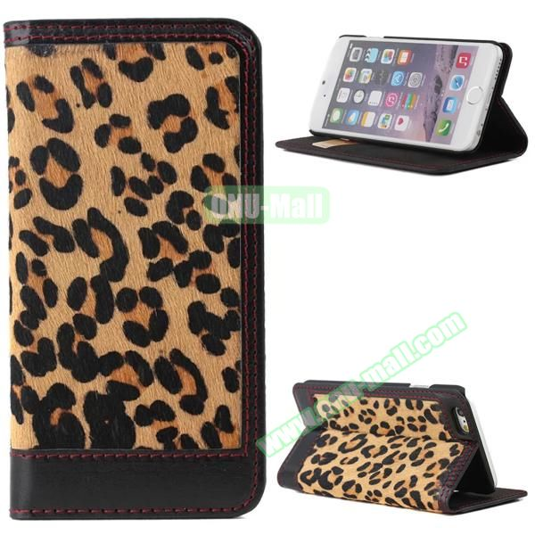 Leopard Pattern Genuine Leather Case for iPhone 6 Plus with Card Slots