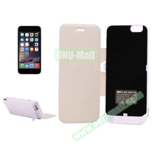 5800 mAh Rechargeable External Backup Battery Case for iPhone 6 with Holder and Front Cover (White)