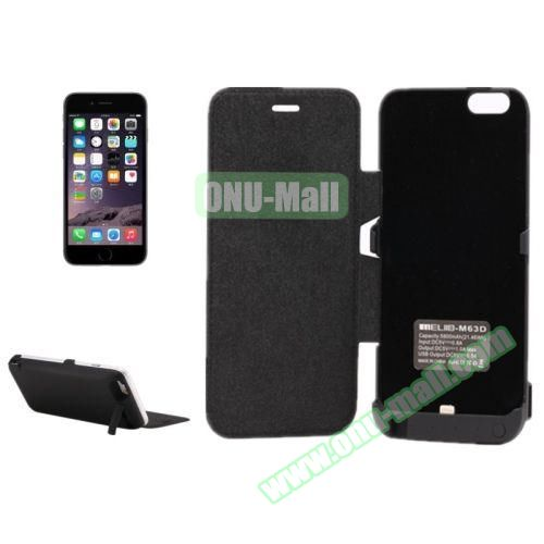 5800 mAh Rechargeable External Backup Battery Case for iPhone 6 with Holder and Front Cover (Black)