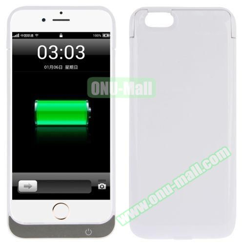 5000 mAh Rechargeable External Backup Battery Case for iPhone 6 (White)