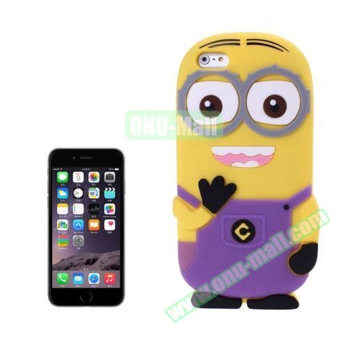 3D Despicable Me II Minions Style Cute Silicone Case for iPhone 6 4.7 inch (Purple)